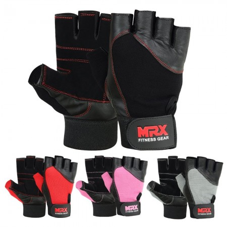MRX Weight Lifting Gloves Gym Training Bodybuilding Fitness Glove Workout Men & Women Black Large