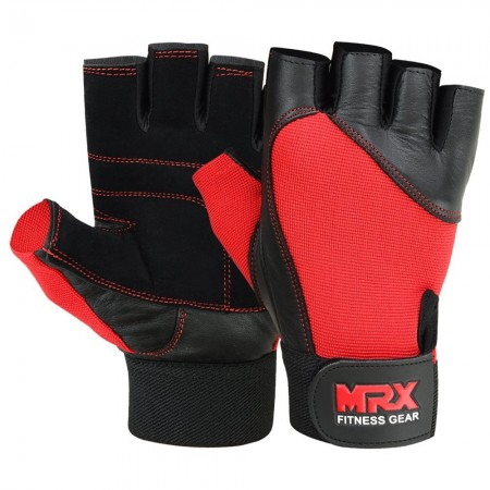 MRX Weight Lifting Gloves Gym Training Bodybuilding Fitness Glove Workout Men & Women Red Large
