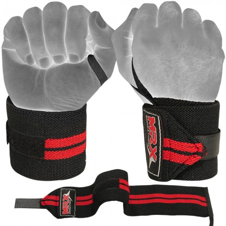 mrx weight lifting wrist wraps black red