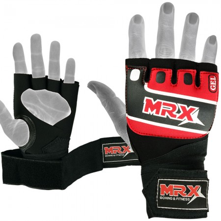 mrx mma gel gloves with strap in red black