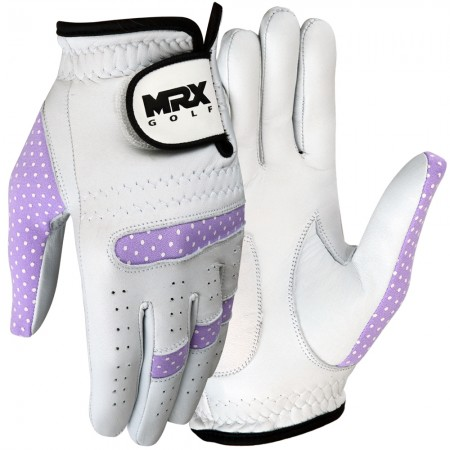 New Women Golf Gloves Cabretta Leather WHITE PURPLE