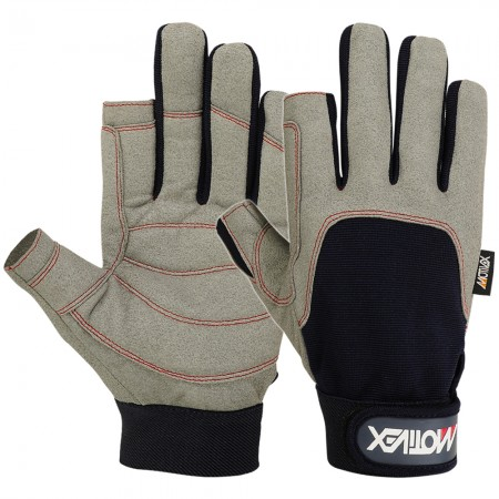 Sailing gloves 2 cut finger blue grey full view
