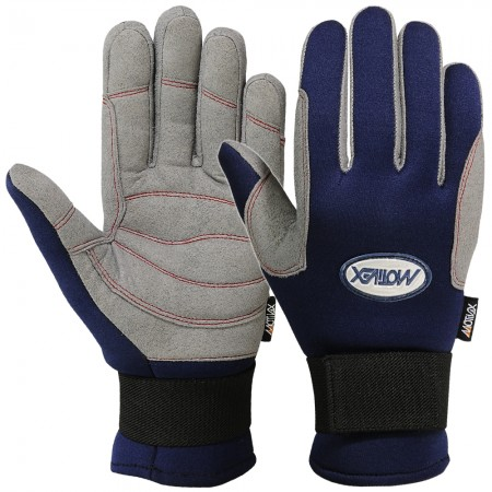 sailing gloves full finger blue grey full view
