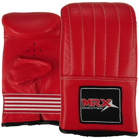 leather bag gloves punching mitts red