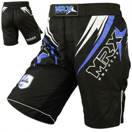 mrx mma fight shorts in black blue