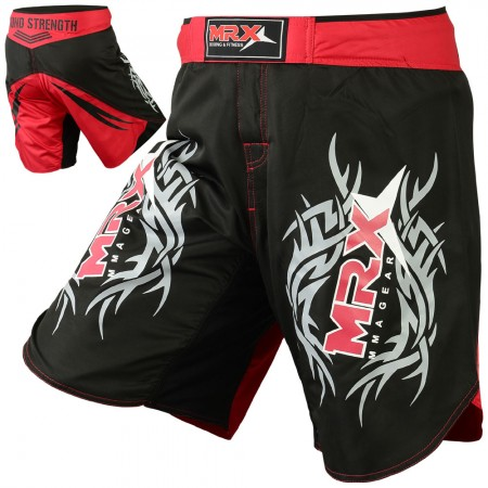 mma grappling short black red1