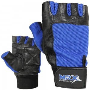 MRX Weightlifting Gloves Leather GYM Workout Training Glove 2602-BLU
