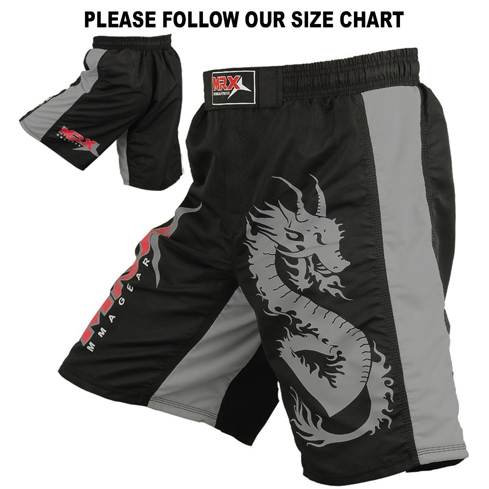 mma fight short black gray 1107 main