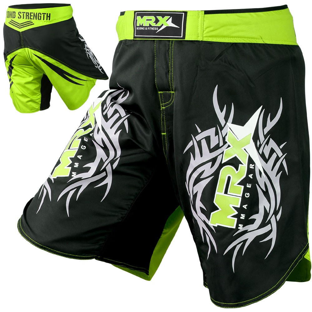 MRX MMA Fight Shorts Grappling Shorts Black Green