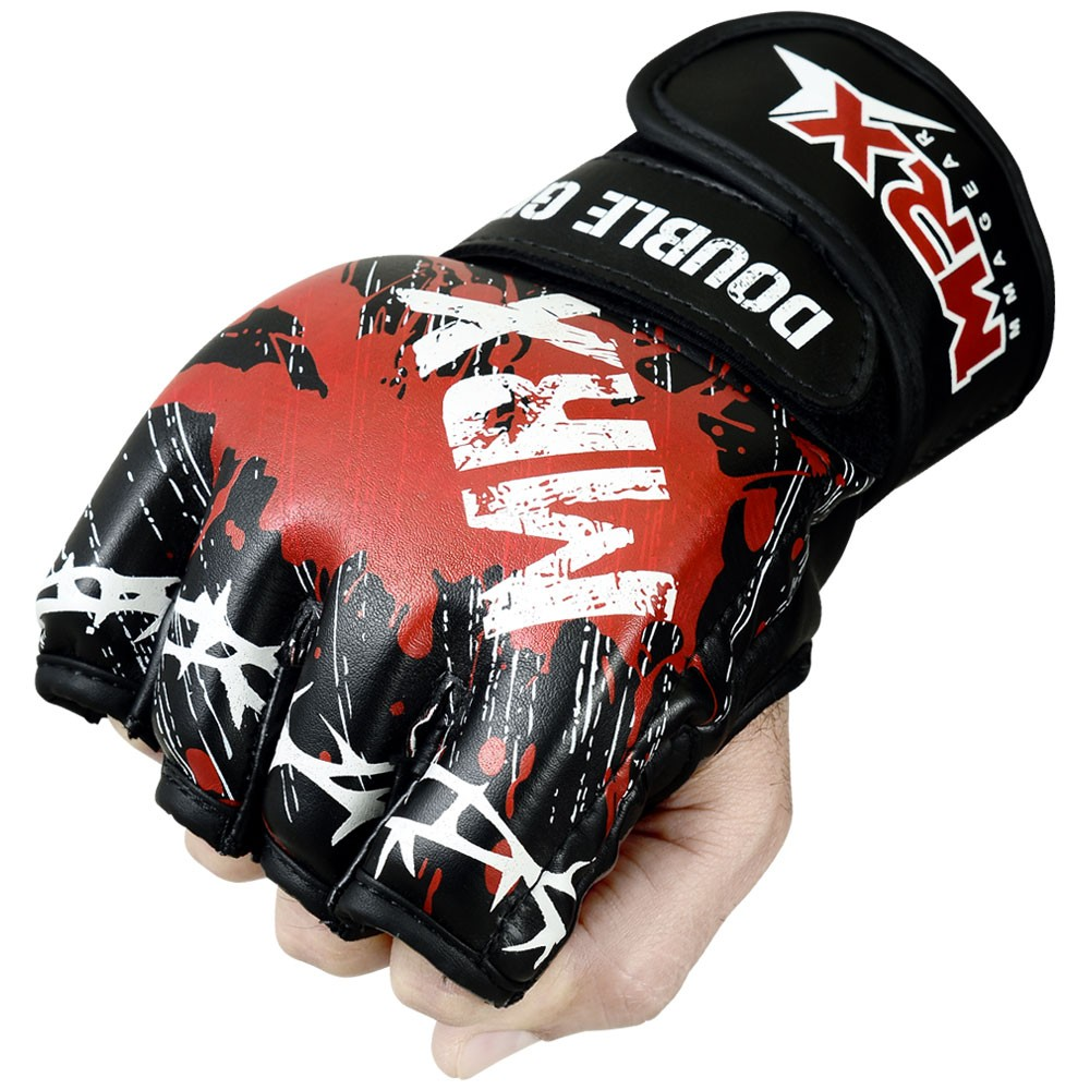 mrx mma grappling gloves blood series black red