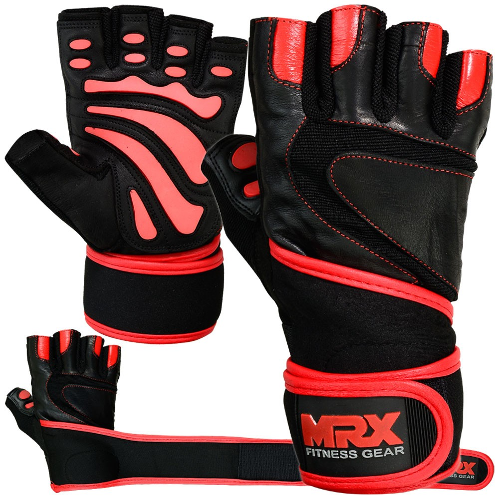 MRX Weight Lifting Leather Gloves With Long Wrist Strap