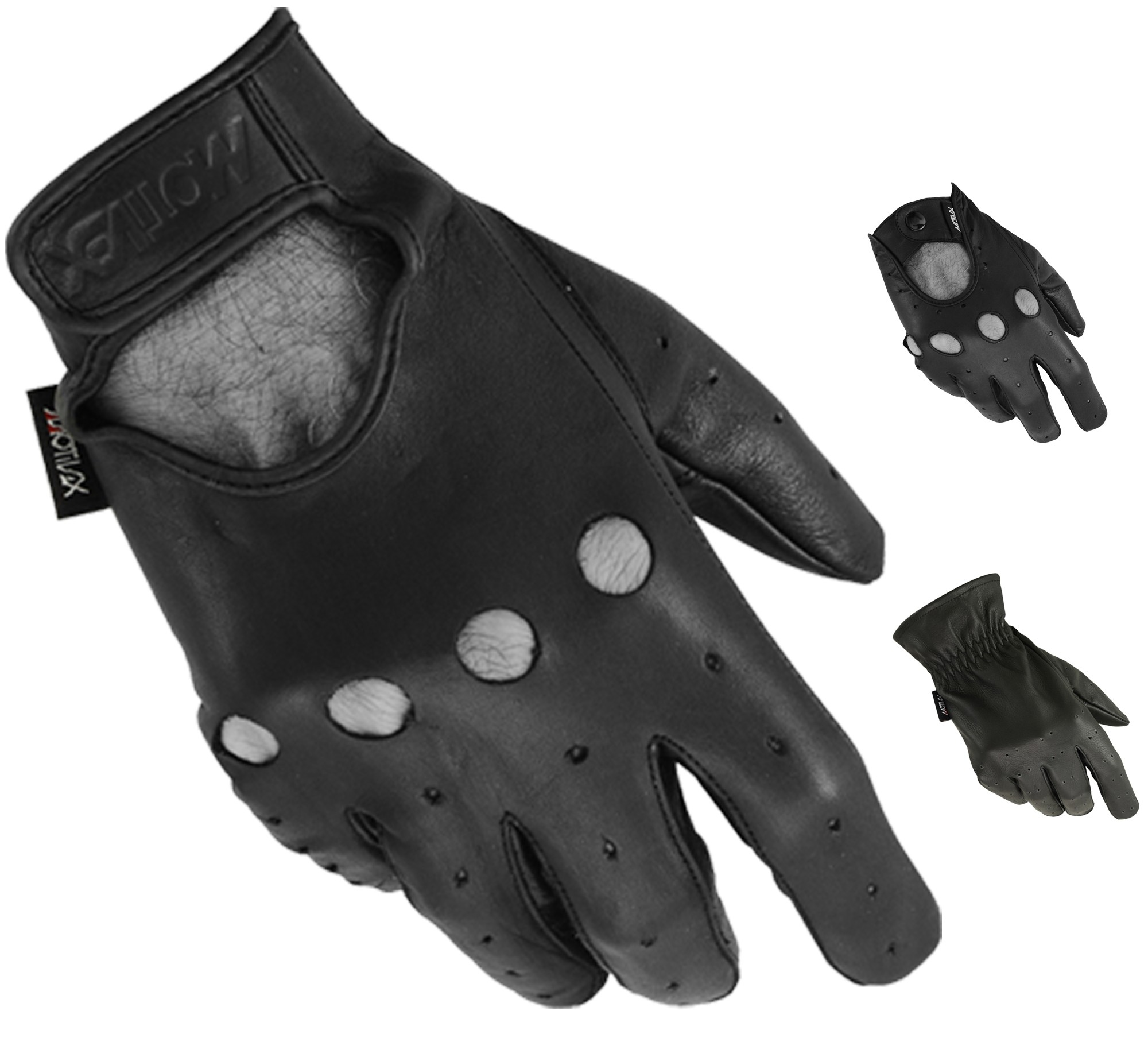 MRX Driving Gloves Basic Soft Outdoor Glove Goat Leather Workout Full Finger, Black
