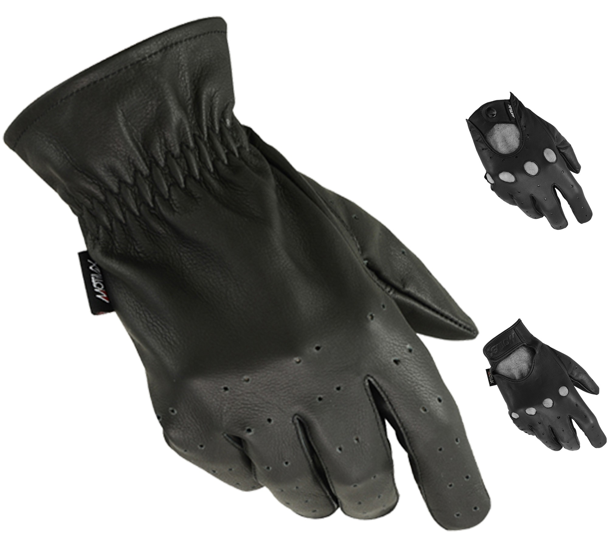 MRX Driving Gloves Basic Soft Outdoor Glove Goat Leather Full Finger, Black