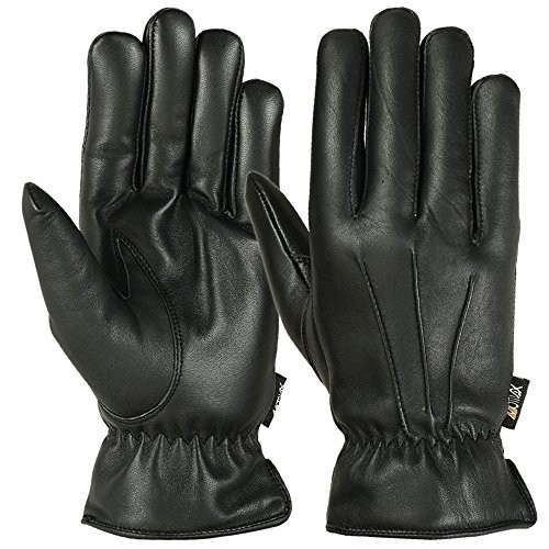Men's Warm Winter Dress and Work Gloves, Thermal Lining, Genuine Black Leather