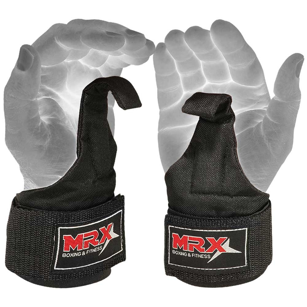 mrx power weight lifting wrist wraps with hooks front angle