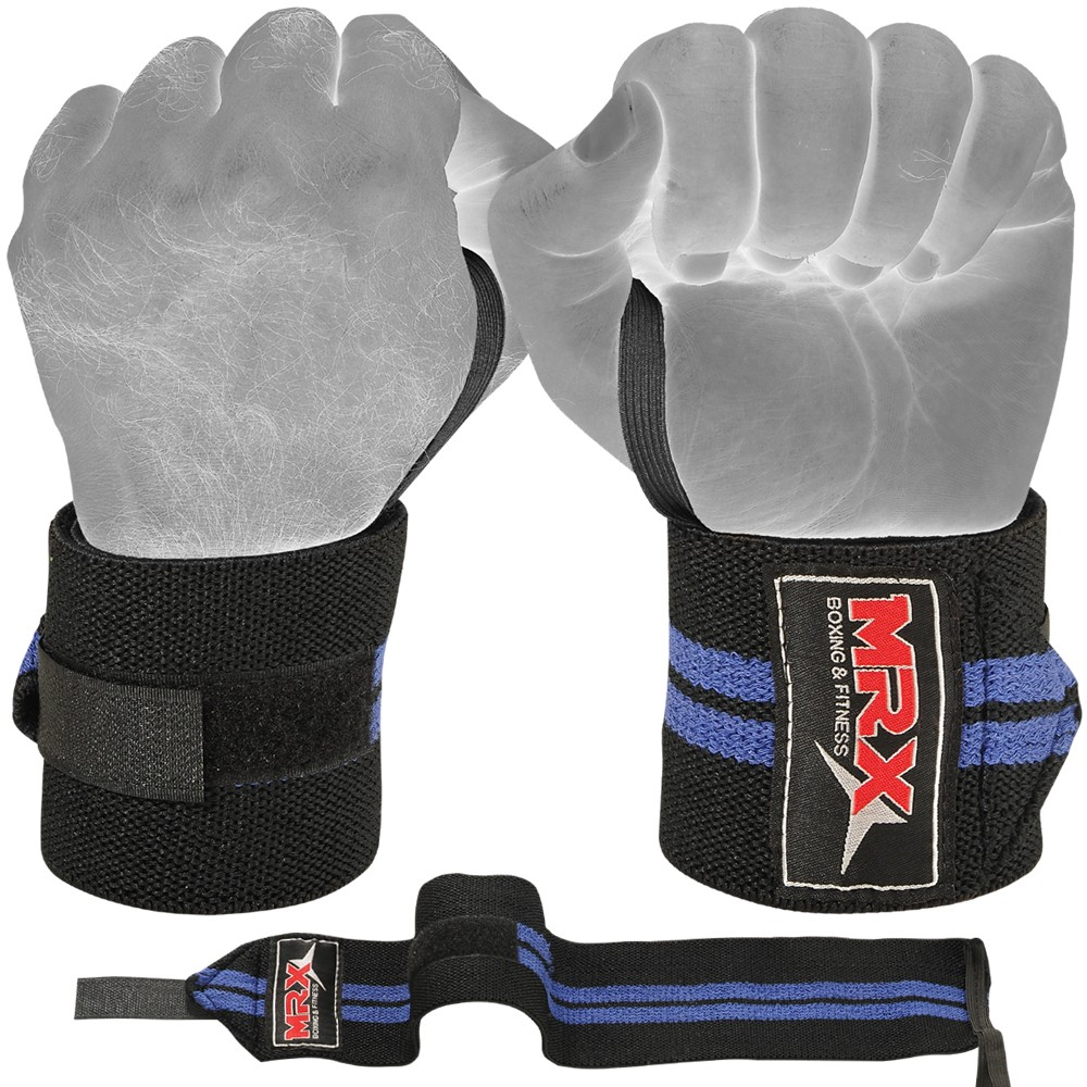 MRX WEIGHT LIFTING WRIST WRAPS BLACK BLUE