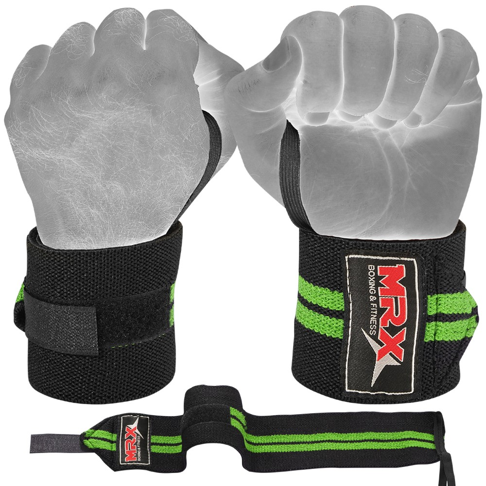 MRX WEIGHTLIFTING WRIST SUPPORT WRAPS GREEN WRAP