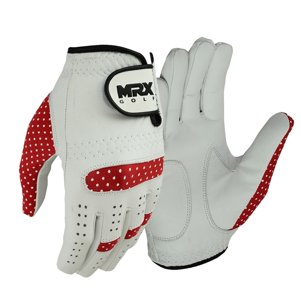 New Women's Golf Gloves Left Hand Cabretta Leather WHITE RED