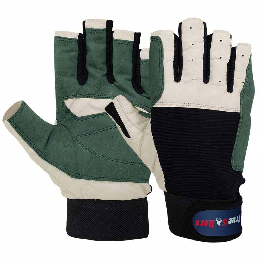 Sailing Gloves all Cut Fingers Glove Blue Green Amara Leather