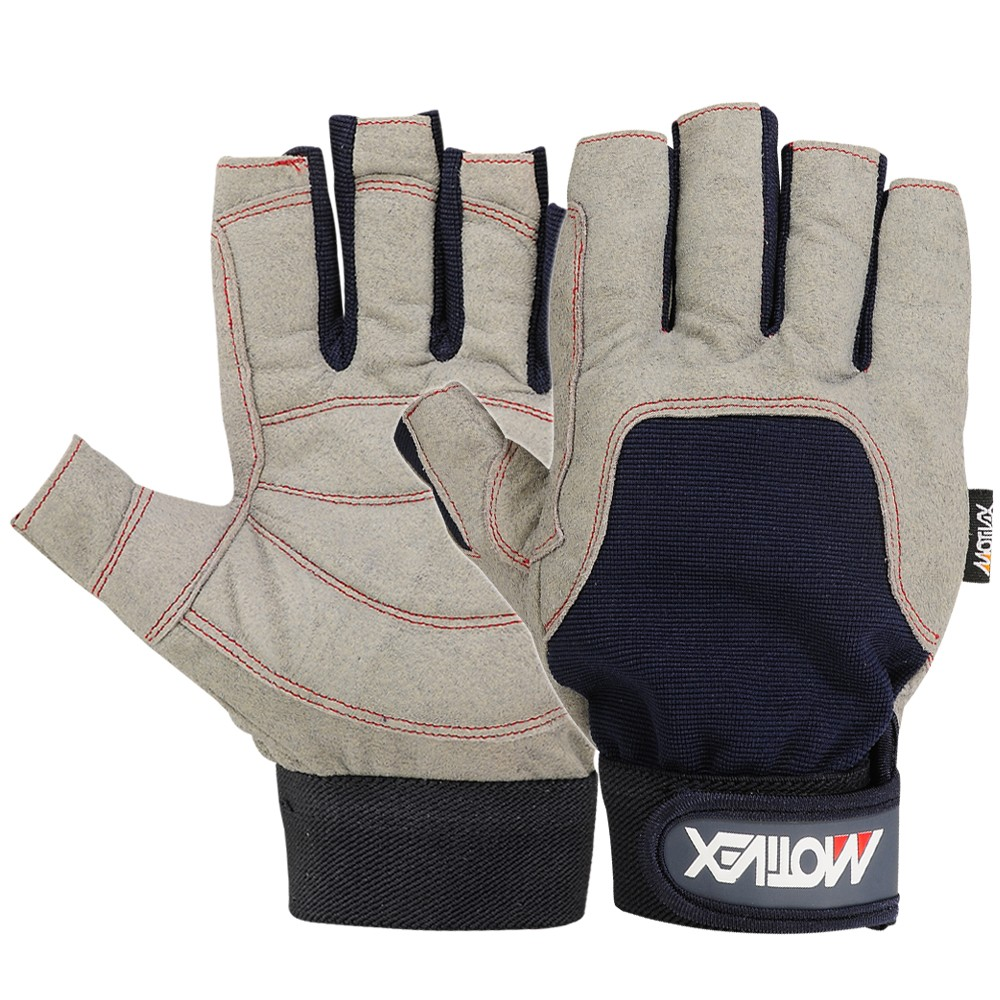 Sailing Gloves all Cut Fingers Blue Grey Amara Leather Glove