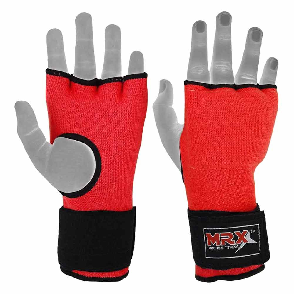 Inner gel pad gloves with wraps red full view