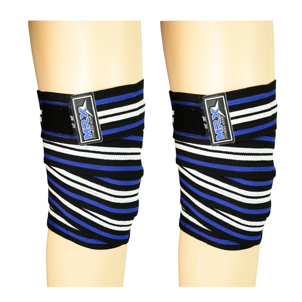MRX WEIGHT LIFTING SUPPORT KNEE WRAPS BLUE