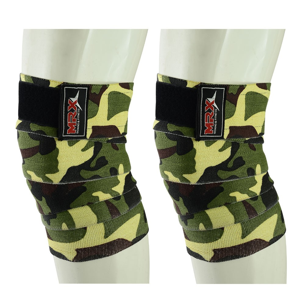 MRX WEIGHT LIFTING KNEE WRAPS in CAMO GREEN