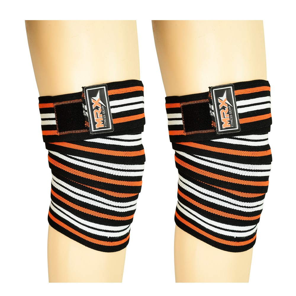 MRX WEIGHTLIFTING KNEE SUPPORT WRAPS ORANGE