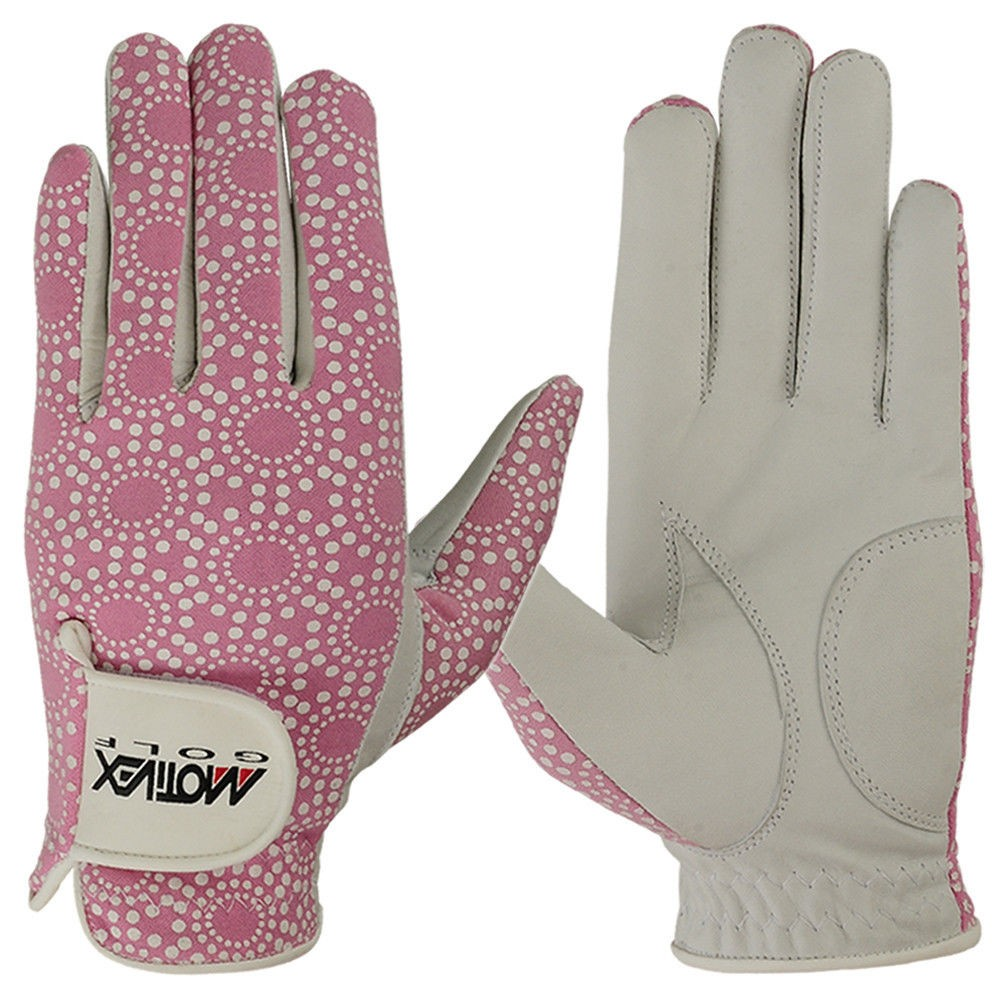 women golf gloves in pink color 2