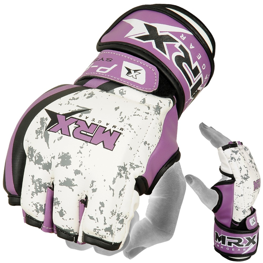 mrx mma fight ufc gloves purple white color