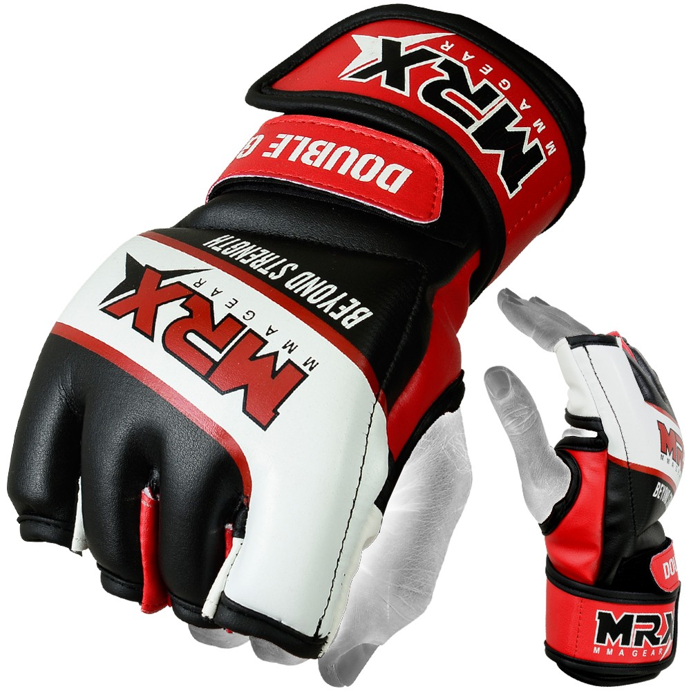 MRX MMA GLOVES  DOUBLE STRAP BLACK RED