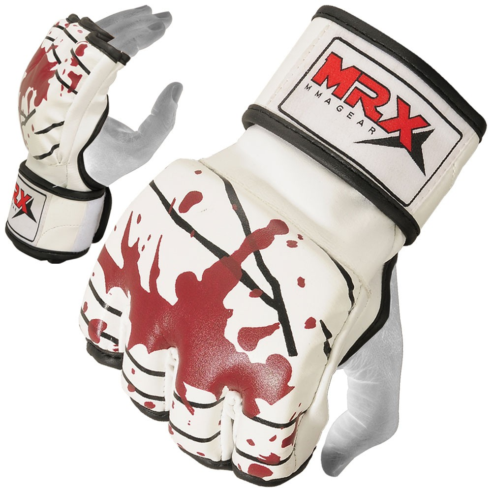 mrx mma grappling gloves white blood series
