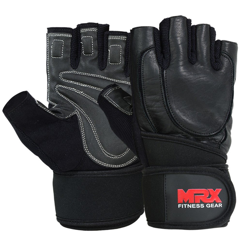 MRX Weight Lifting Gloves Long Wrist Straps Gym Training Leather Black S