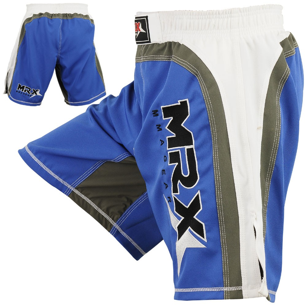 mma shorts white blue color back side angles