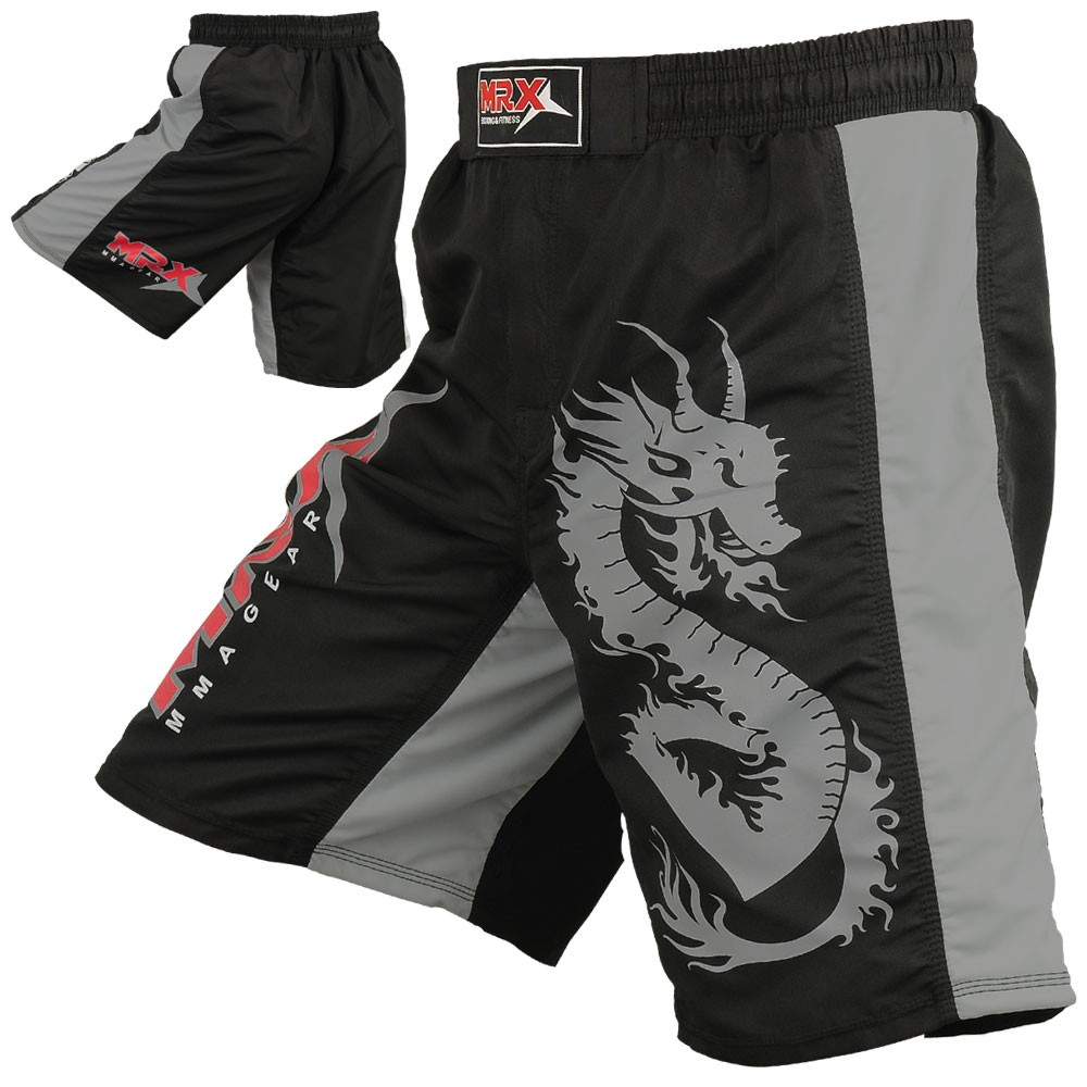MRX MMA Fighting Grappling Shorts Black / Gray Small