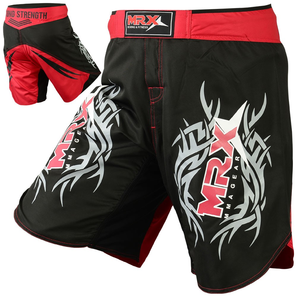 MRX Grappling MMA FIGHTING Shorts Black Red