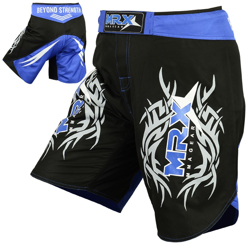 MRX MMA SHORTS FIGHTING SHORTS BLACK BLUE