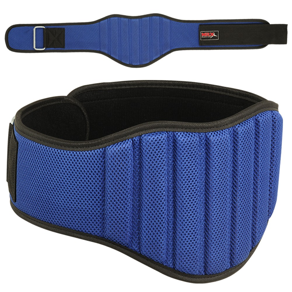 "MRX Weight Lifting GYM Belt 8"" Wide Blue Small"