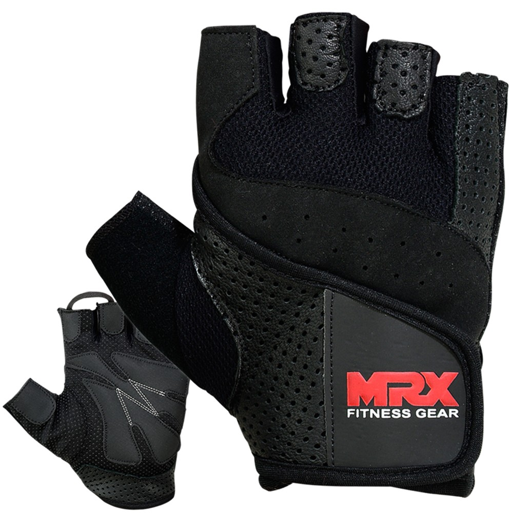 MRX MEN WEIGHT LIFTING COWHIDE LEATHER GLOVES BLACK