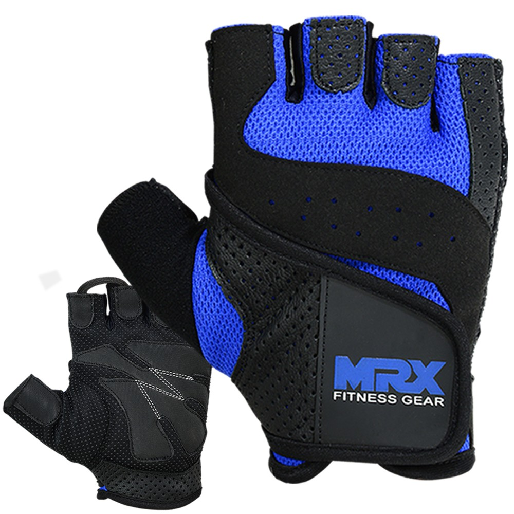 MRX MEN WEIGHT LIFTING COWHIDE LEATHER GLOVES BLUE