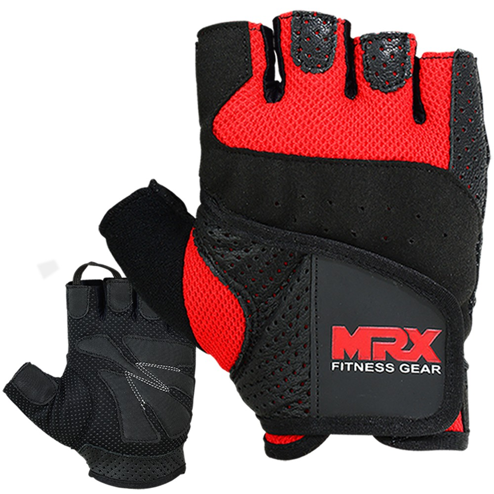 MRX MEN WEIGHT LIFTING COWHIDE LEATHER GLOVES RED