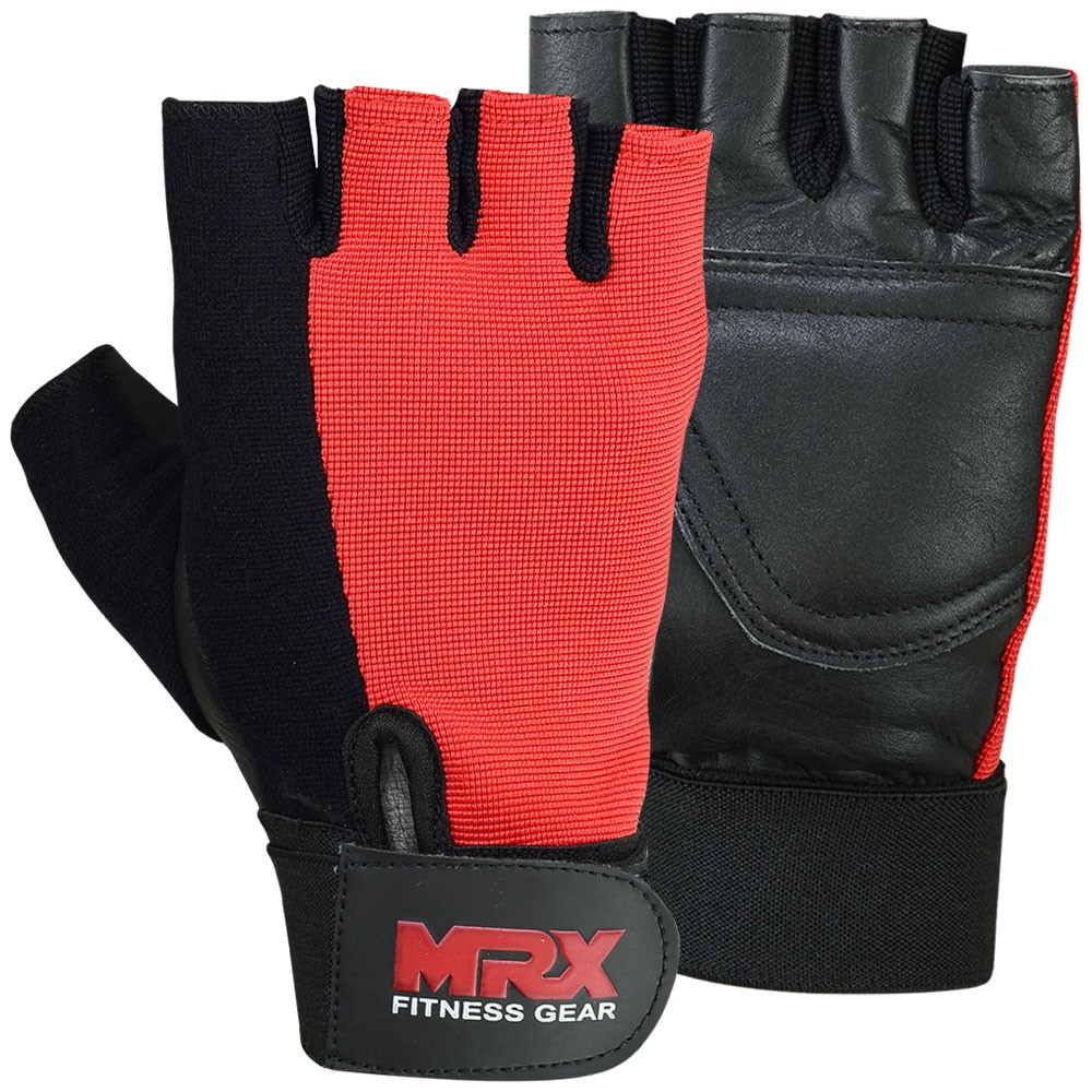 MRX WEIGHT LIFTING GLOVES RED BLACK GLOVE