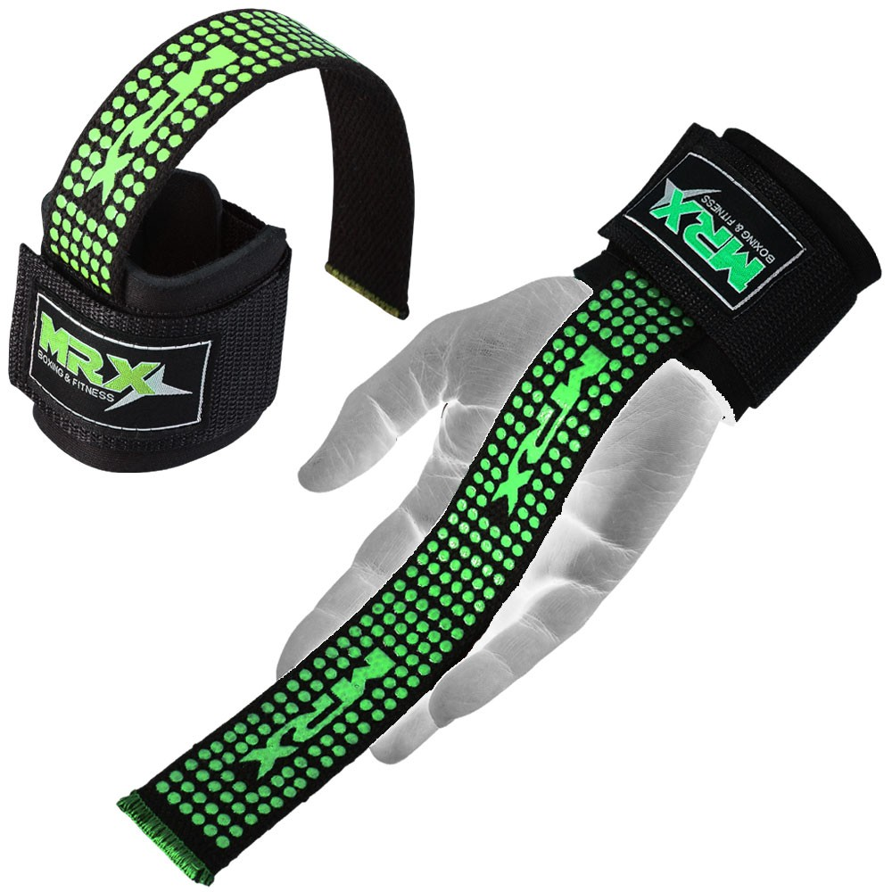 Mrx Weight Lifting Bar Straps with Wrist Wraps Bodybuilding Workout GYM Strap Green